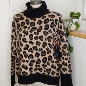 NWT Cynthia Rowley Cheetah Sweater
